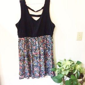 Torrid 3X Black Floral Sleeveless Dress